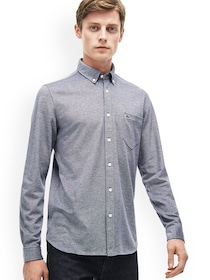 b157d5a61b Buy Lacoste Men Green & White Classic Fit Checked Casual Shirt ...