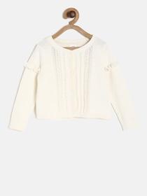 Buy Yellow Apple Girls Blue Self Design Poncho - Sweaters