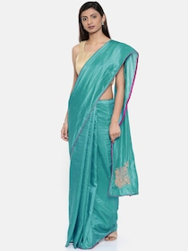 f9dbff6acb52d1 Buy Vritika Peacock Blue Silk Cotton Traditional Saree - Sarees for ...