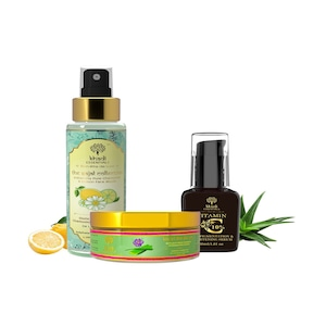 KHADI ESSENTIALS Combo of Vitamin C Face Serum, Lemon Mizzle and Kesari Aloevera Gel