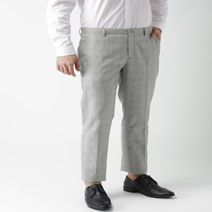 [Size 30] INVICTUS Men Grey & White Slim Fit Checked Formal Trousers