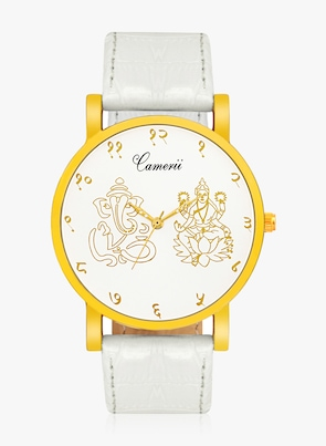 Camerii White/White Leather Analogue Watch Watches