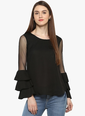 Black Solid Blouses