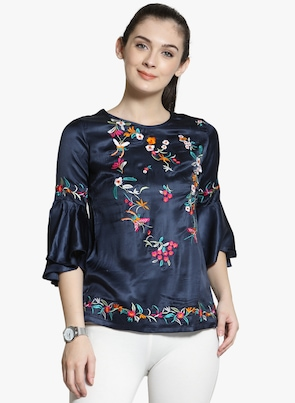 Navy Blue Printed Regular Top