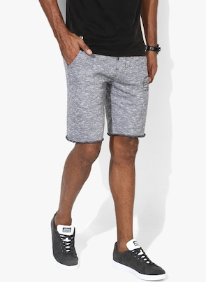 Grey Self Design Bermudas