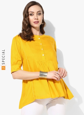 Yellow Solid Mandarin Collar Tops With Elbow Cuff Sleeves