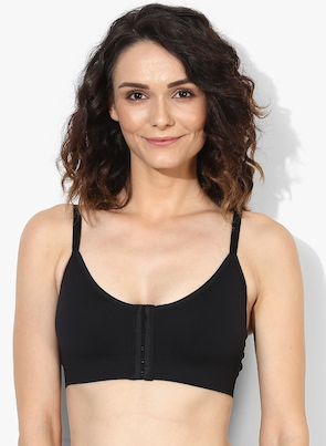 Black Solid Non-Wired Lightly Padded Bra