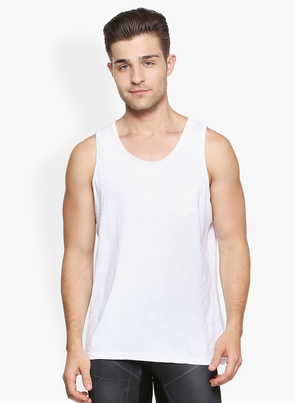 People White Self Design Round Neck T Shirt