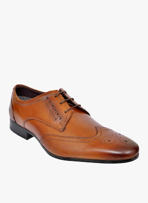 Tan Textured Brogues Formal Shoes