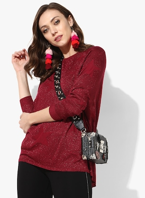 Red Self Design Blouse