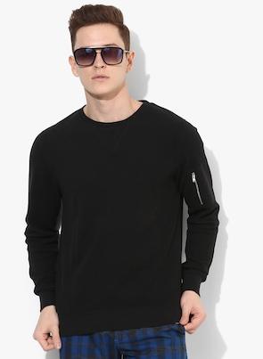 Black Solid Sweatshirt