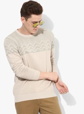 Beige Self Striped Pullover