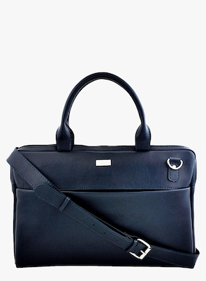 Navy Blue Synthetic Leather Laptop Bag