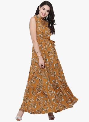Mustard Yellow Printed Maxi Dress