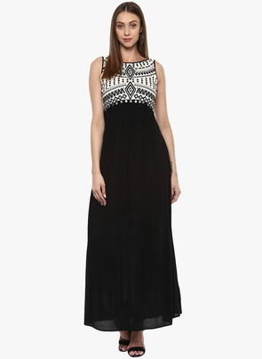 Black Coloured Embroidered Maxi Dress