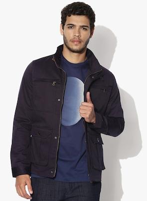 RARE RABBIT Purple Solid Casual Jacket RARE RABBIT Jackets