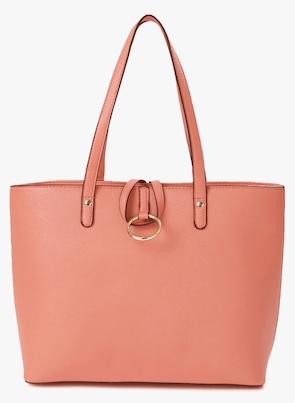 Peach Polyurethane (Pu) Handbag