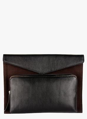 Brown/Black Leather Laptop Sleeve
