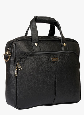 Black Synthetic Leather Laptop Bag