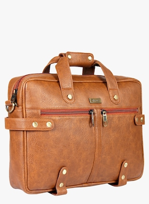 Tan Synthetic Leather Laptop Bag
