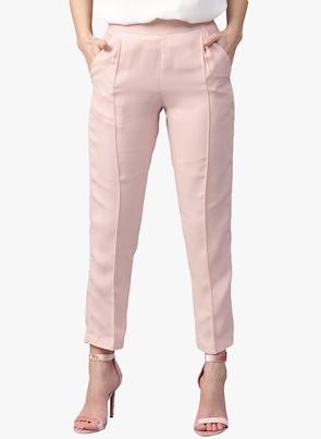 Pink Solid Regular Fit Coloured Pant