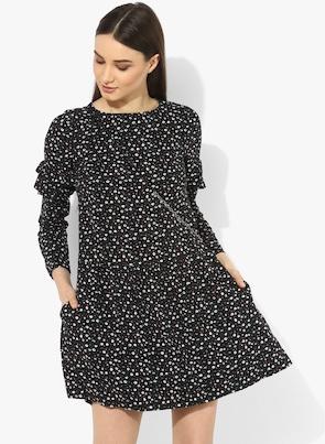 Black Printed Shift Dress