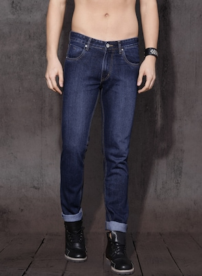 Blue Slim Fit Mid-Rise Clean Look Jeans