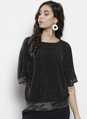 Black Shimmery Blouson Top