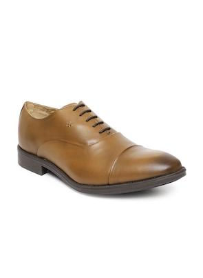 Men Tan-Coloured Leather Oxfords