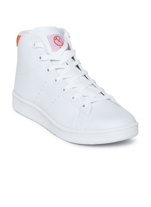 White Synthetic Mid-Top Skateboarding Shoes