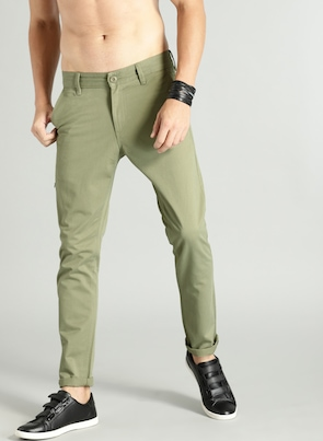 Green Regular Fit Solid Chinos