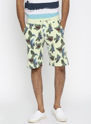 Men Off-White Printed Regular Fit Shorts