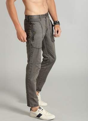 Men Charcoal Grey Regular Fit Solid Ankle-Length Trouser