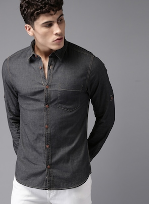 Black Regular Fit Solid Chambray Shirt