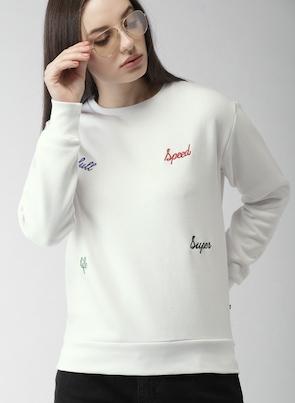 Harvard White Self Design Sweatshirt Sweatshirts