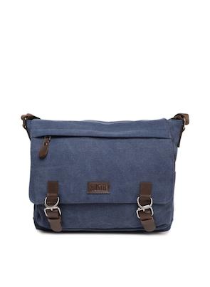 Blue Solid Messenger Bag