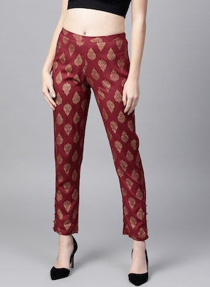 Maroon & Golden Tapered Fit Printed Trousers