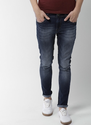 Navy Blue Skinny Fit Mid-Rise Clean Look Stretchable Jeans