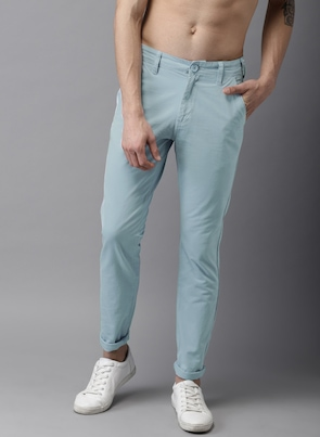 Blue Slim Fit Solid Chinos
