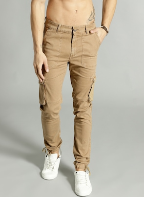 Khaki Regular Fit Solid Joggers Cargos