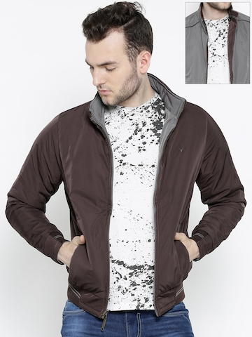 Allen Solly Brown & Grey Reversible Padded Jacket