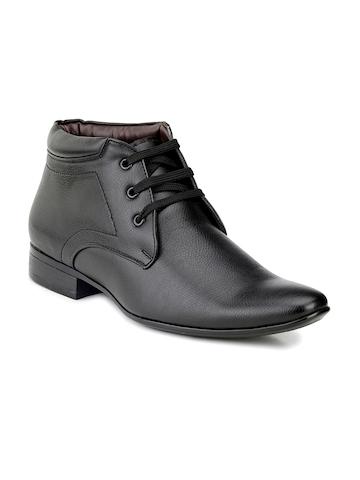 Mactree Men Black Leather Formal Shoes