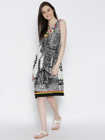 BIBA White & Black Printed A-Line Dress
