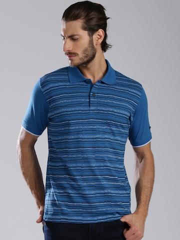 HRX by Hrithik Roshan Blue Striped Polo T-shirt