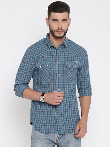 948aa0db 54% OFF on Mufti Blue Checked Casual Shirt on Jabong | PaisaWapas.com