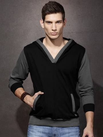 30% OFF on Roadster Black   Grey Hooded Sweatshirt on Myntra ... 139854d698c4