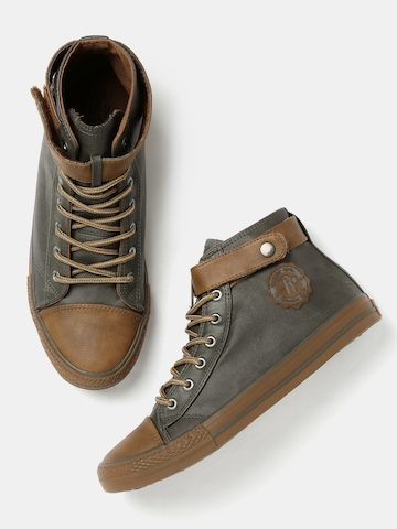 Roadster Men Olive Green & Brown Colourblocked Mid-Top Sneakers