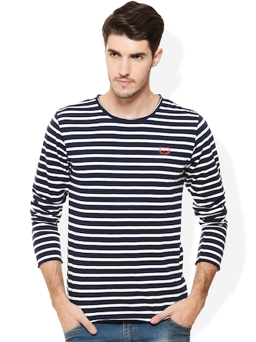 112690daf37 47% OFF on Rigo Navy   White Striped Smart Fit T-shirt on Myntra ...