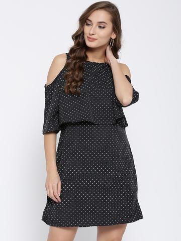 5f246c0dba1 40% OFF on Sera Women Black Dot Print Cold Shoulder Shift Dress on Myntra