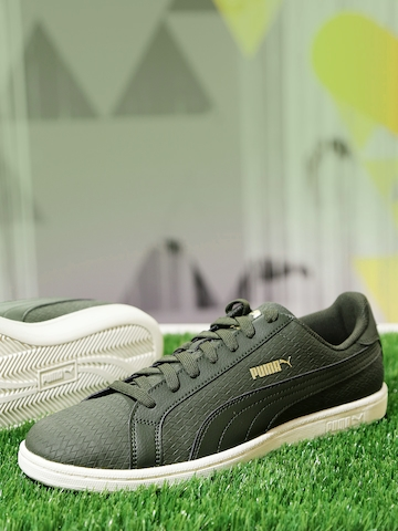 puma grey and green sneakers